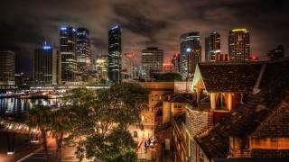 Австралия ночь город, sydney