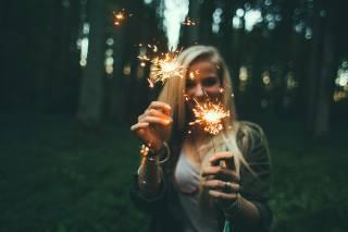 girl, smile, view, sparklers