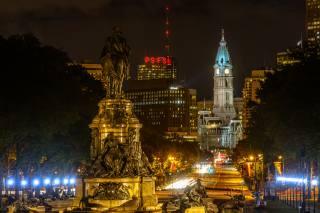 doma, památník, Filadelfie, noc, Уличные фонари, město