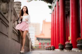 girl, street, the city, feet, skirt, brown hair