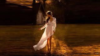 girl, evening, the moon, dress, white