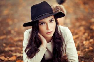 girl, model, photographer, Lods Franck, autumn, portrait, hat, brown eyes, view