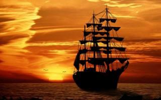 океан, захід, вітрильник, небо