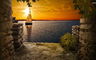 the ocean, sunset, sailboat, the sky, stones