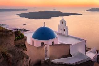 moře, krajina, západ slunce, město, skála, večer, santorini, Řecko, kostel, dome, Тира, oia