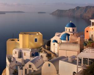 moře, krajina, hory, město, skály, ostrov, doma, ráno, santorini, Řecko, kostel, dome, Тира, oia