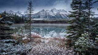 nature, winter, Perry Hoag, Canada, the lake, Герберт, reflection, rock, mountains