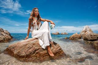 girl, in white, dress, sitting, on the stone, in the water