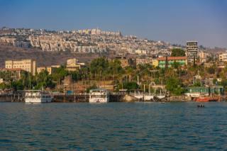 Izrael, doma, Molo, lodě, Tiberias, záliv, město