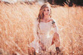 girl, blonde, field