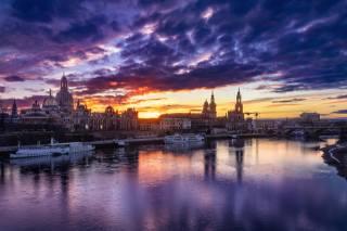 drážďany, Německo, krásný, západ slunce, nebe