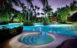 інтер'єр, басейн, Готель, тропіки, пальми