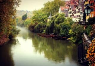 příroda, podzim, stromy, město, mlha, řeka, budovy, doma, Německo, Тюбинген