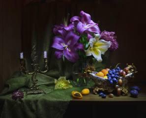 květiny, váza, ovoce, pozadí