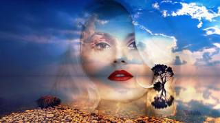 the sky, clouds, blonde, face, desert, tree, Rendering