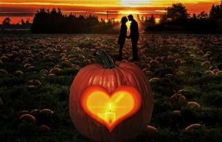 sunset, lovers, silhouettes, field, pumpkin, heart, Candle