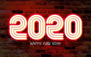 2020, New year, wall, Composition