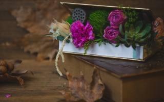 květiny, kytice, box