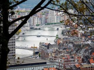 město, doma, řeka, most, panorama