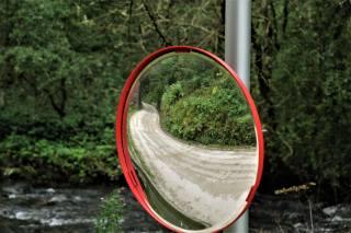 зеркало, безопасность, отражение, дорога, лес, фон