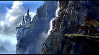 dragon, rock, cliff, fantasy, castle, people, mountains