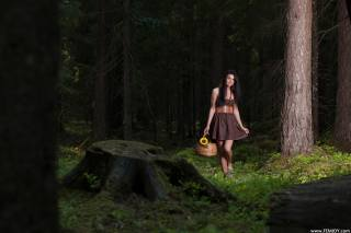 VERA P, girl, forest, basket