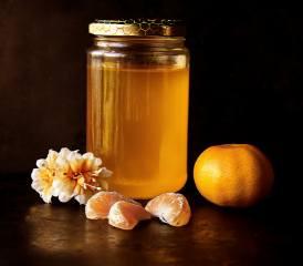 honey, Bank, Mandarin, slices, flowers