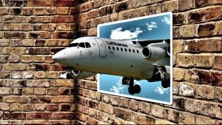 zeď, letadlo