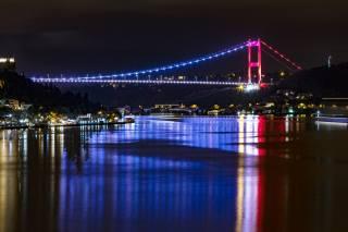 Turkey, Istanbul, the bridge, Bosphorus, night, the city