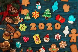 cookies, New year, 2020, cones, snowflakes, tree
