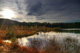 podzim, jezero, stromy, tráva, západ slunce