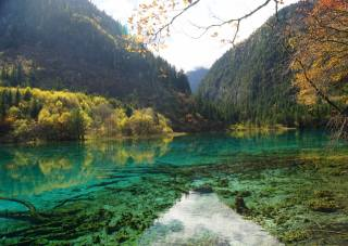 China, mountains, forest, autumn, the lake, Цзючжайгоу, Park, Sichuan, nature