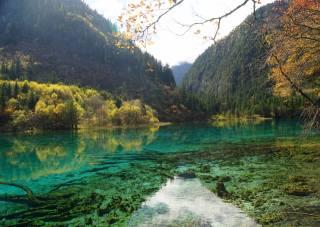 Čína, hory, les, podzim, jezero, Цзючжайгоу, park, Sichuan, příroda
