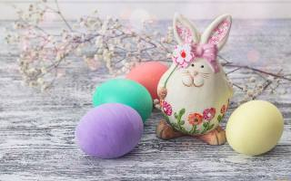 Board, branch, flowers, EGGS, eggs, figure, rabbit, hare, holiday, Easter