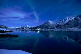 ночь, зима, снег