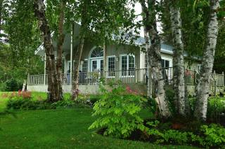 будинок, паркан, дерева, КУЩІ, літо