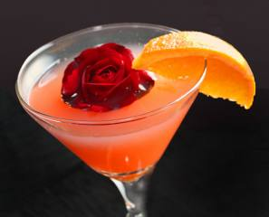 drink, cocktail, Glass, orange, flower, rose