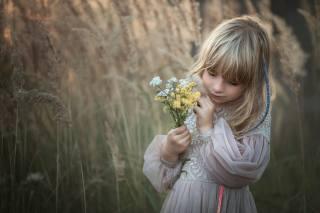 природа, сукню, дівчинка, трави, дитина, букетик, Marta Obiegla
