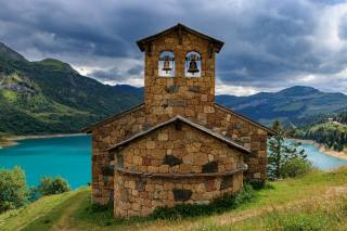 mountains, the lake, France, Savoie, Chapelle de Roselend, Beaufort, nature