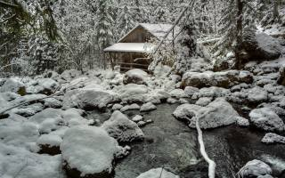 winter, stones, water mill, snow, stream, nature