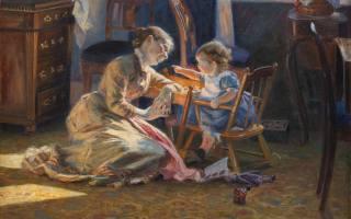 1888, obraz, Viggo Pedersen, máma, dítě