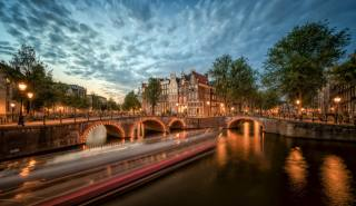 evening, the Netherlands, Amsterdam, the bridge, water channel, the city