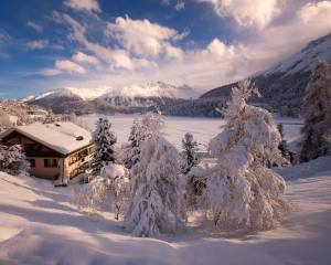 winter, snow, trees, landscape, mountains, nature, the house, Switzerland, ate, cottage, Forest, Санкт-Мориц