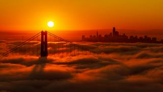 sunset, the city, fog, clouds