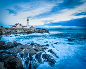 lighthouse, sea, stones, wave