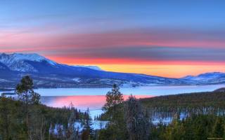 озеро, лес, горы