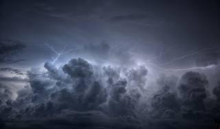 небо, облака, молния