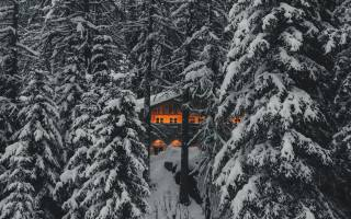 зима, дім та затишок, ліс, гори