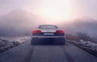 Silver, audi, r8, rear view