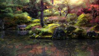 осень, деревья, пейзаж, природа, пруд, парк, камни, Япония